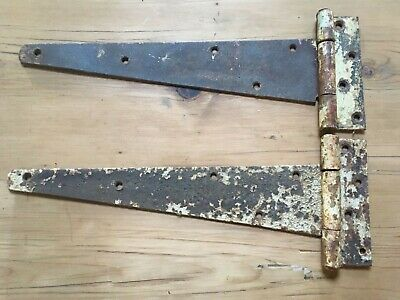 """Reclaimed Pair Of Old Heavy Duty Steel 16"""" T Strap Hinges Strong"""