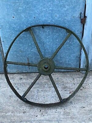 69.4cm Diameter Salvaged Vintage Wrought Iron 6 Spoke Old Farm Implement Wheel
