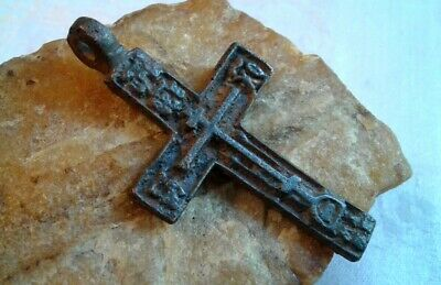 "LARGE ANTIQUE 18-19th CENTURY ""OLD BELIEVERS"" ORTHODOX CROSS PSALM 68 ""EXORCISM"""