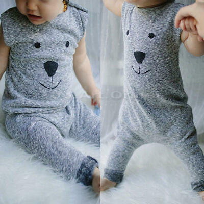 Newborn Infant Baby Boy Girl Bear Outfit Cotton Romper Jumpsuit Bodysuit Clothes