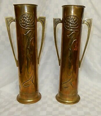 Antique Pair Beldray Art Nouveau Brass Vases c.1910 Stylised Flowers