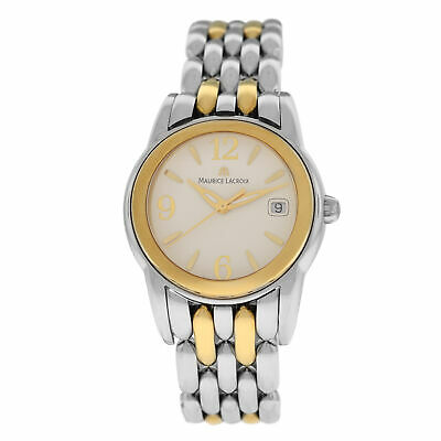 New Ladies Maurice Lacroix Sphere SH1014-SY023-720 Gold Steel $1200 Quartz Watch