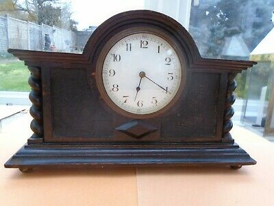 Edwardian Mantel Clock with Barleytwist Decoration. With Key.