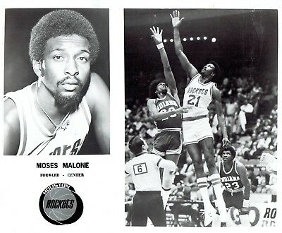 1979 Vintage Photo Team Issued Houston Rockets Moses Malone in basketball action