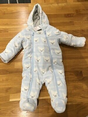 Marks & Spencers Baby Boys Blue Pramsuit Snowsuit 3-6 Months New BNWT