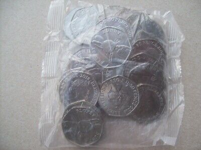 Royal Mint: 2018 Sealed Bag of 20 Uncirculated Flopsy Bunny 50p Coins