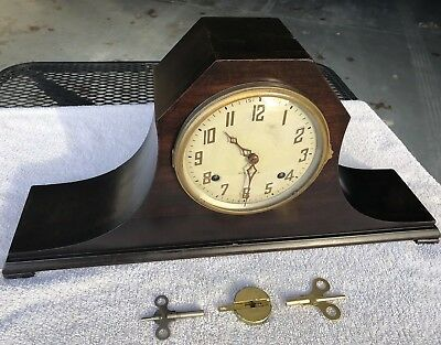 1930's Antique New Haven Mantel Shelf Clock Working Camel Back with Chime