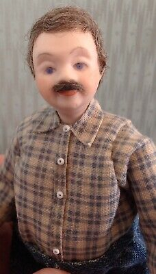 1:12 scale Dollhouse Miniature Porcelain Man Doll, Handcrafted OOAK Grandfather