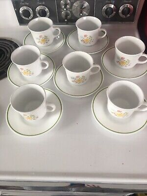 Vintage Corelle Spring Meadow Coffee Cups and Saucers