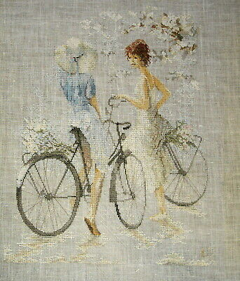 Lanarte Completed Counted Cross Stitch Unframed Linen Picture Girls On Bicycles
