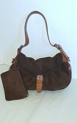 d52a479bb940 Cynthia Rowley Small Shoulder Saddle Hand Bag Purse Brown Suede   Leather  E.U.C.