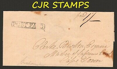 Cape Of Good Hope Cover  -    Post Paid (Pre-Postage Stamp Era)  -  To Cape Town