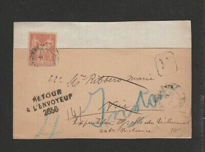 France 1900 40c Peace and Commerce on registered wrapper front.
