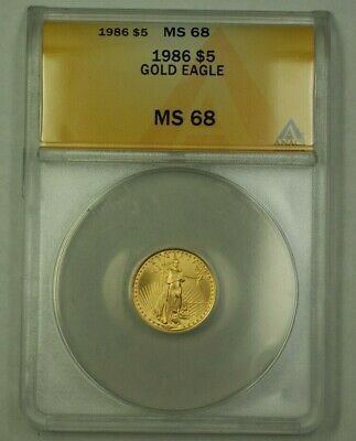 1986 $5 Five Dollar American Gold Eagle Coin AGE 1/10 Oz ANACS MS-68