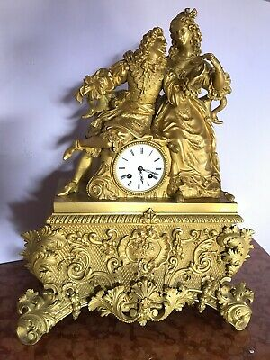 Unique Big Model Antique French Table/Mantle Clock 19Th Century - Free Shipping