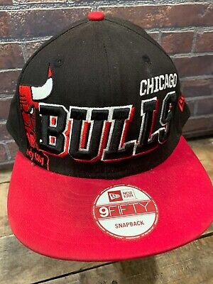c7a6aaa6c57 VINTAGE CHICAGO BULLS Windy City Black Red Snapback Hat Cap New Era ...