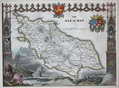 Genuine antique map of Isle of Man c.1840 hand-coloured in excellent condition