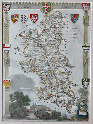 Genuine antique map of Buckinghamshire c.1840 hand-coloured in excellent cond'n