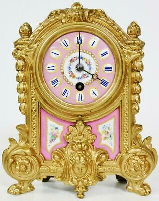 Beautiful Antique French 8 Day Gilt Metal & Pink Sevres Porcelain Mantle Clock