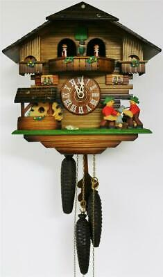 Rare Vintage Black Forest Carved 3 Weight Musical Automaton Cuckoo Wall Clock