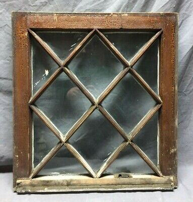 Antique 12 Lite Diamond Cottage Window Sash Shabby Vintage Chic 20X21 49-19M