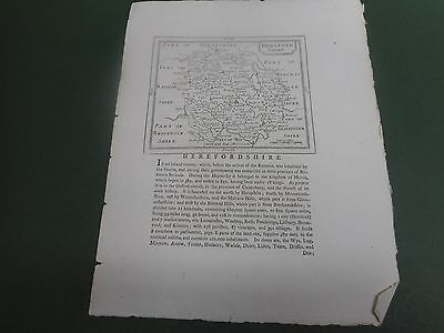 100% Original Herefordshire Map By Seller/grose C1790 Vgc