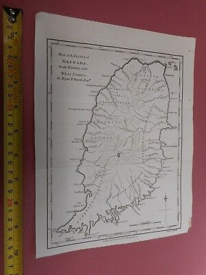 100% Original Island Of Grenada Map By Stockdale/edwards C1794 West Indies