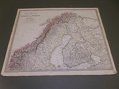 100% Original Norway Finland Map  By Walker/sduk C1832 Vgc