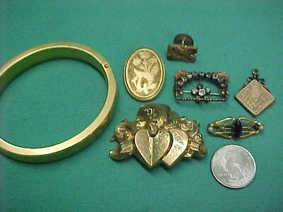 Vintage Lot of Antique Gold Filled Plated Victorian Jewelry for Parts or Repair
