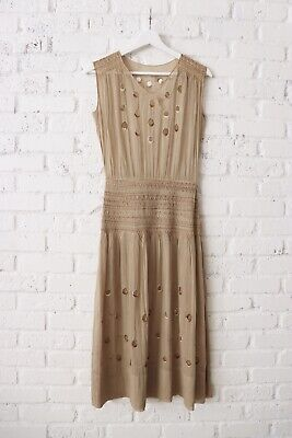 1920s Hungarian Dress Smocking Peasant Brown 1930s Sheer Gauze Cotton Cut Out