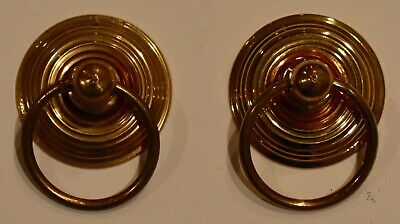 Pair of Heavy-Duty European Cast Brass Ring Pulls for Drawers or Doors