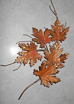 "Vintage Copper Brass stem welded Metal Leaves Wall Sculpture Decor 23"" MCM EUC"