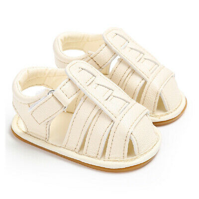 Beige White Boy Newborn Girl Soft Sole Baby Shoes Sandals Non-slip PU Shoes 11cm