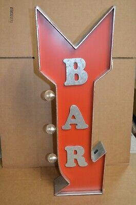 BAR Arrow Metal Marquee Sign W/ LED Lights Man Cave Beer Arcade Garage Pub Decor