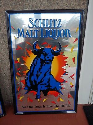 SCHLITZ MALT LIQUOR BULL Beer Metal Advertising embossed mirrored sign 1992 35""