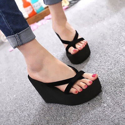 47b088247 Womens Black Wedge Platform Thong Flip Flops Beach Sandals Slipper Indoor  Shoes