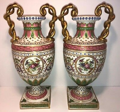 """Antique Pair of French Sevres STYLE Porcelain Vases 18"""" Tall"""