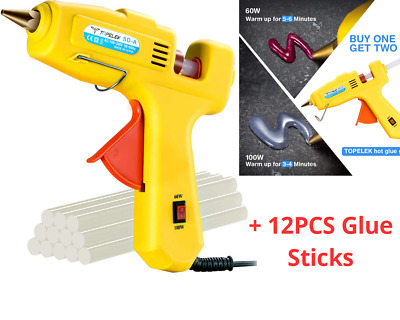 HOT GLUE GUN 100 Watt Industrial Glue Gun High Temperature Hot Melt Dual  power