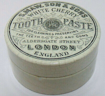 Maw's of London White Cherry Tooth Paste Pot Lid & Base c1900's