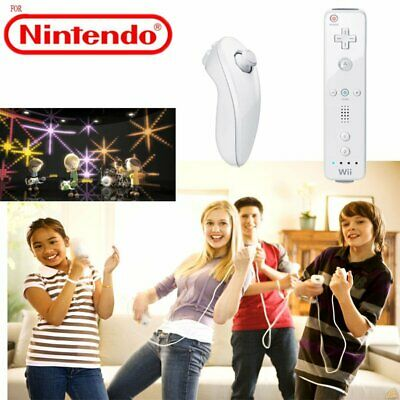 US Remote Wiimote Nunchuck Controller Set Combo for Nintendo Wii Game White