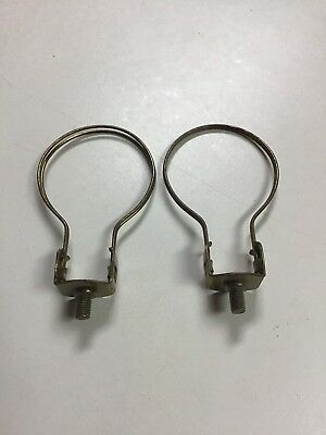 NOS Pair of 2 Clip On Bulb Lamp Shade Holder Adapters Finial Harp