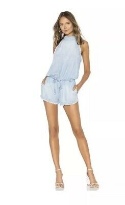 362f3a84398 Anthropologie Cloth   Stone Frayed Denim Chambray Romper Size Medium NEW