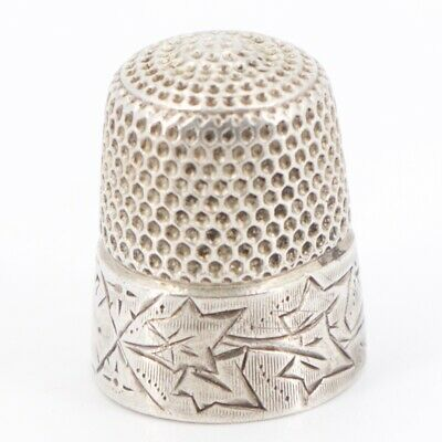VTG Sterling Silver - Etched Leaves Sewing Thimble Size 7 - 5g
