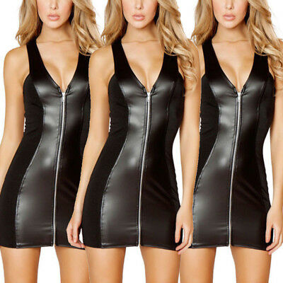 0cac1a8f8fbc Womens Sexy V-neck Leather Wetlook Mini Dress Lingerie Nightwear Bodycon  Zip Up