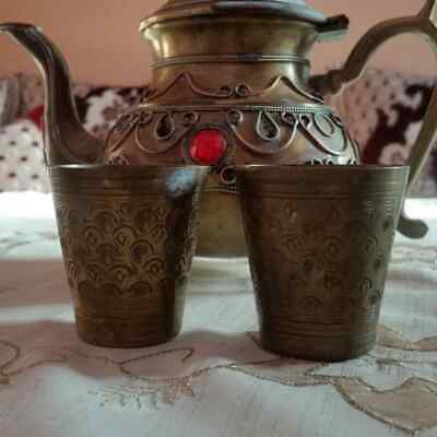 Antique Traditional Teapot with two cup Made OF Copper Decorated With Carvings .