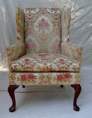 Vintage English Cottage Style Wingback Chair by Hickory Chair Co.