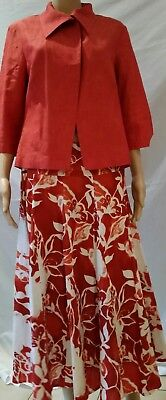 🔥STITCHES Australia 10 12 Suit Terracotta Rust White Floral Linen Blazer+ Skirt
