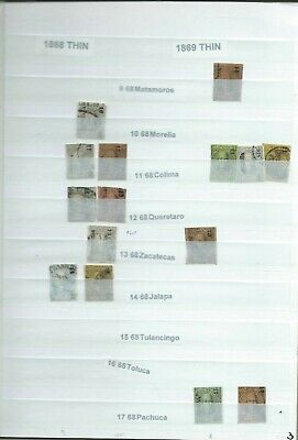 1868 -1869 Thin Mexico Classic Stamps