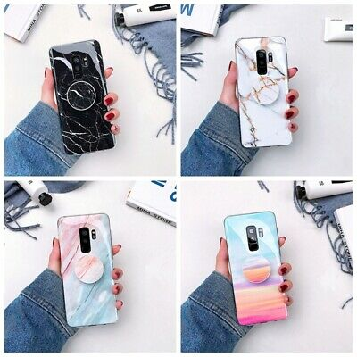 Marble Case Cover Pop Up Phone Holder for Samsung Galaxy S8 9 Plus Note 8 9 S10