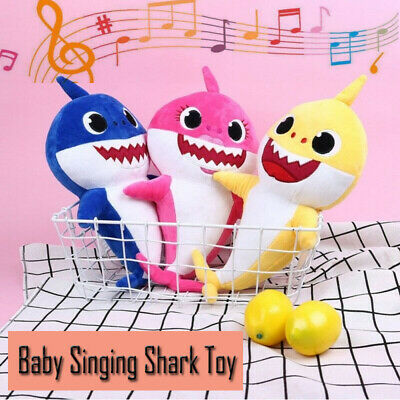 Cartoon Baby Kid Sing Song Shark Toy Stuffed Plush Music Doll Cartoon Toy 32CM